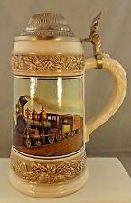 Vintage Gerz Germany Train Locomotive Scene Lidded Beer Stein