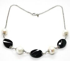 SILVER 925 NECKLACE, ONYX BLACK OVAL FACETED, PEARLS, 44 CM, CHAIN ROLO'