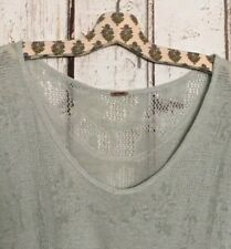 Medium/Large Free People Green Linen Floral Lace Pullover Sweater Swing-cut