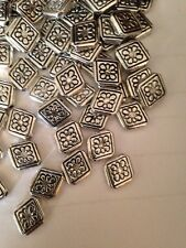 25 Pieces 10x12mm Diamond Shape Bali Style Pewter Beads L@K # 501