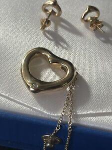Stunning Designer Solid 9ct Gold Diamond Set Open heart Necklace & Earrings 7.5g