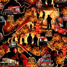 Firefighter Fabric, BTY, Under Fire Scenic, 580E-RED,  TheFabricEdge