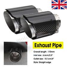 2X 2.6'' Universal Carbon Fiber Car Auto Exhaust Pipe Trim Tail Muffler End Tip