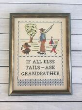If All Else Ask Grandfather Completed Cross Stitch Mcm Vtg Puppy Fish Boy Boat