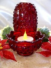 "FENTON GLASS""MINT&PERF~VINTAGE~80's""RUBY RED""HOBNAIL""FAIRY LIGHT/LAMP+$4 SHIP SP"