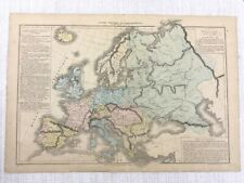 1877 Antique Map of Europe Political Ethnographic Hand Coloured 19th Century
