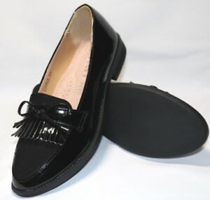 Ladies New Shiny Black With Suede Upper Fringe and Bow School Office Loafers