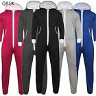 UNISEX MENS WOMENS HOODED ZIP ONESIE PLAYSUIT PLAIN ALL IN 1 JUMPSUIT not gerber