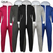 UNISEX MENS WOMENS HOODED ZIP ONE PIECE 1ONESIE PLAYSUIT PLAIN ALL IN 1 JUMPSUIT
