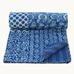 Handmade Patchwork Kantha Embroidery King Size Blanket Throw Bedspread 225x270cm