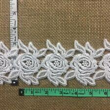 """Trim Lace Rose Venise Double Border Symmetrical 3.25"""" Wide, Choose Col-White"""