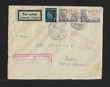 ZEPPELIN FINLAND TO GERMANY COVER, SC# C1 x 2 1930 RARITY !!