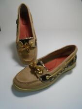 SPERRY TOP SIDER WOMEN SIZE US 7.5 M 9102815 LEATHER GOLD SPARKLES LEOPARD SHOES