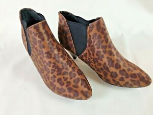 """NEW """"W"""" Leopard Animal Print Ladies Kitten Heeled Chelsea Ankle Boots Size 5"""
