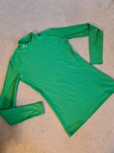 Ladies Under Armour Size L Green Top Long Sleeve Fitted Activewear