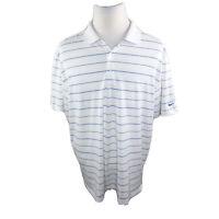 Nike Golf dri-fit Polo Shirt Mens White With Lt Blue Stripes Shirt Size XL EUC