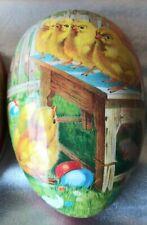 Vintage Nestler Paper Mache Easter Egg Made In Germany. Chicks On Farm Scene