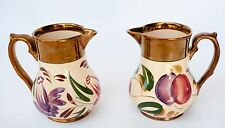 PAIR HARVEST WARE CREAMER WADE ENGLAND LUSTER HAND PAINTED FLOWERS FRUIT GOLD