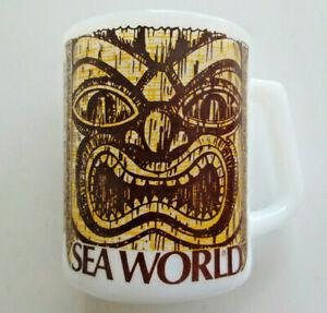 Vintage Sea World Tiki Image Mug by Federal Milk Glass for California Theme Park