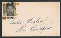 1950 DAN BANKHEAD Dodgers Vintage Signed Baseball Index Card JSA Auth. (D. 1976)