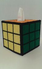 Solved Rubiks Rubix Cube Plastic Canvas New Handmade Tissue Box Cover