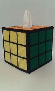 Solved Rubiks Rubix Cube Plastic Canvas Handmade Tissue Box Cover