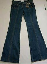 Yves Saint Laurent Jeans Flared Bottom Bell Vintage BLUE Wide Low RISE 34 16 18