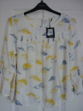 NINE by SAVANNAH MILLER IVORY BLUE YELLOW CLOUDS TOP. UK 12, EUR 38-40, US 8. BN