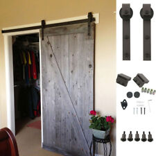 6.6 FT Sliding Track Barn Door Closet Rail Hanger Black Steel Hardware Antique