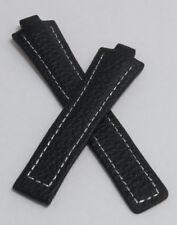 Nero/Argento Buffalo GRANO Pelle Watch Band per adattarsi TAG Heuer Kirium Gents