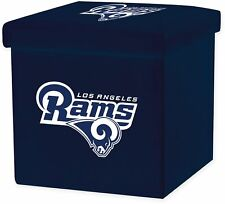 NFL Los Angeles Rams STORAGE OTTOMAN w Lid Square Seat Collapsible Organizer