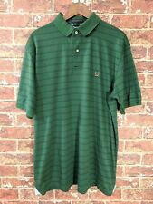 Tommy Hilfiger L Polo Short Sleeve Henley Cotton Green Crest Logo Striped