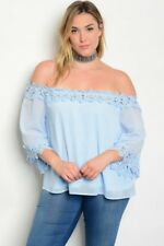 WOMEN'S PLUS SIZE SEXY SKY BLUE OFF SHOULDER TOP WITH LACE ACCENTS 1XL NWT
