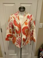 3 Sisters White Open Front Linen Jacket w/ Watercolor Print, Size Small, NWT!