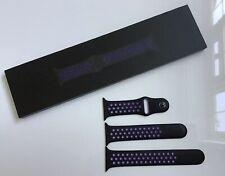 Genuine Apple Watch NIKE Sport Band BLACK / HYPER GRAPE 44mm NEW + SEALED BOXED