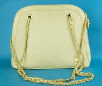 Authentic BALLY Ivory Quilted Leather & Gold Tone Chain Shoulder Bag Purse Italy
