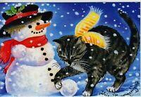 CAT ART Cute Kitty Sculpts Snowman Winter by Garmashova NEW Russian Postcard