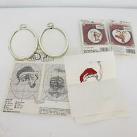 4 Framed Mini Christmas Ornament Counted Cross Stitch Kits Santa Ms Claus  more