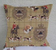 """FOX HUNT Equestrian Horse Hound Hunting Tapestry Pillow 20"""" x 20"""", HINES England"""