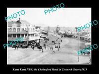 OLD LARGE HISTORIC PHOTO OF KURRI KURRI NSW, CHELMSFORD HOTEL & CESSNOCK St 1915