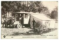 Antique printed military WW1 postcard French Army Ambulance Croquis De Guerre