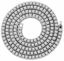 "Mens Silver Plated 1 Row Cz Tennis Chain 5mm Hip Hop Iced Out 30"" Necklace"