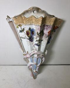 Vintage Porcelain Hanging Wall Pocket Flower Holder