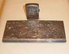 Vintage 950 Sterling Silver Zippo Lighter and Cigarette Case Bamboo Engraved