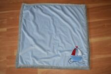 "Baby Gear Blanket Lovey 30"" x 30"" 100% Polyester Blue Gray Fuzzy Soft Sailboat"