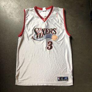 Men's Vintage Reebok Authentic Philadelphia 76ers Allen Iverson Jersey Sz 52 2XL