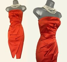KAREN MILLEN UK 14 Light Red Satin Folded Strapless Cocktail Ascot Dress Race 42