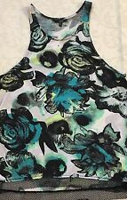 HURLEY Junior's Multi-Color Floral Print Racerback Tank Top Sz L Large NWT CUTE!
