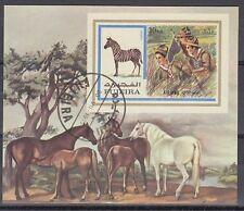Fujeira 1972 Bl.99 B fine used c.t.o. Pfadfinder Scouts Zebra Pferde Horses