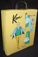 Vintage Ken Doll Mustard Yellow Vinyl Trunk Carrying Case Wardrobe 1961 Barbie